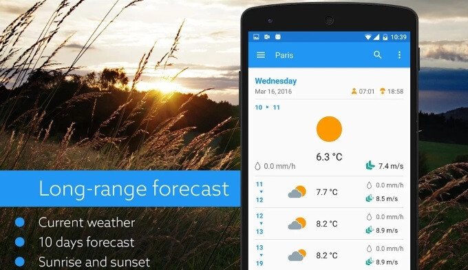 Klara for Android shows the weather forecast as simple and easy to read charts