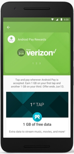 Use Android Pay three times and earn 2GB of free data from Verizon - Verizon customers who use Android Pay three times will get 2GB of data for free