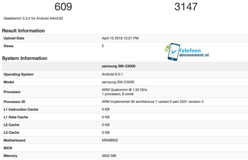 The SM-C5000 is benchmarked by Geekbench 3