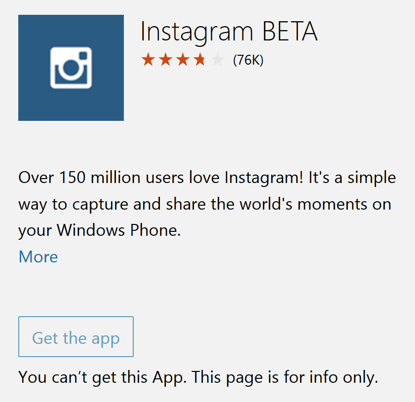 Instagram for Windows Phone has been pulled from the Windows Store - Instagram Beta for Windows Phone 8.x is gone