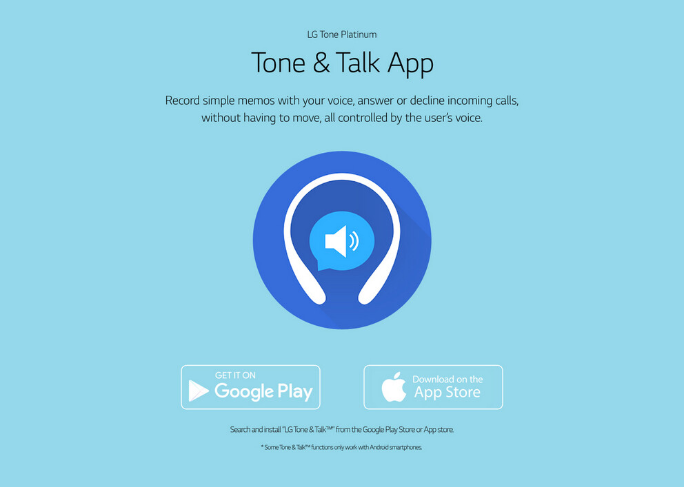 The Talk and Tone app adds features for your LG Tone Platinum earphones