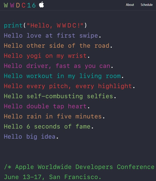 Apple announces WWDC 2016 for June 13-17 with colorful lines of cryptic code