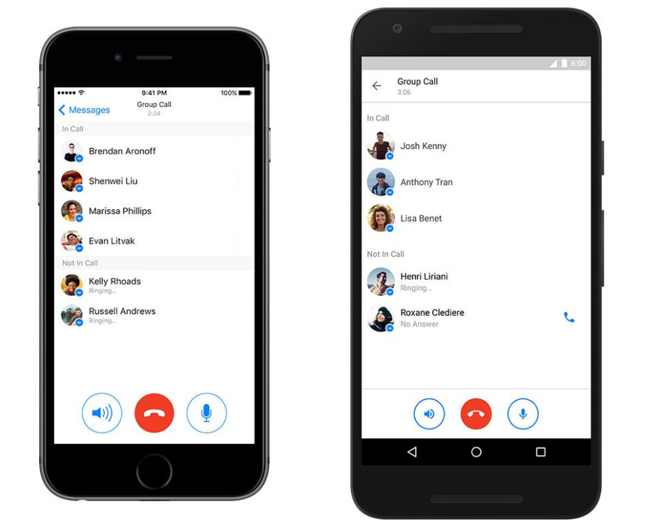 Facebook Messenger group calls on iOS (L) and Android (R) - Facebook Messenger update adds support for group calls with up to 50 recipients