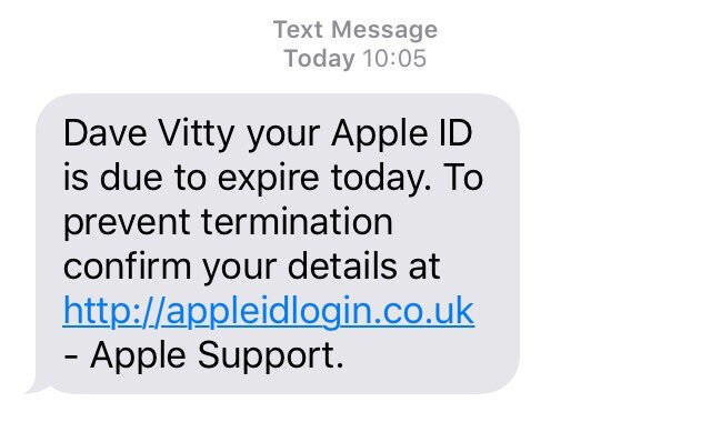 Screenshot by Dave Vitty. - Phishing scam does the rounds on UK iPhones, watch out for illicit messages