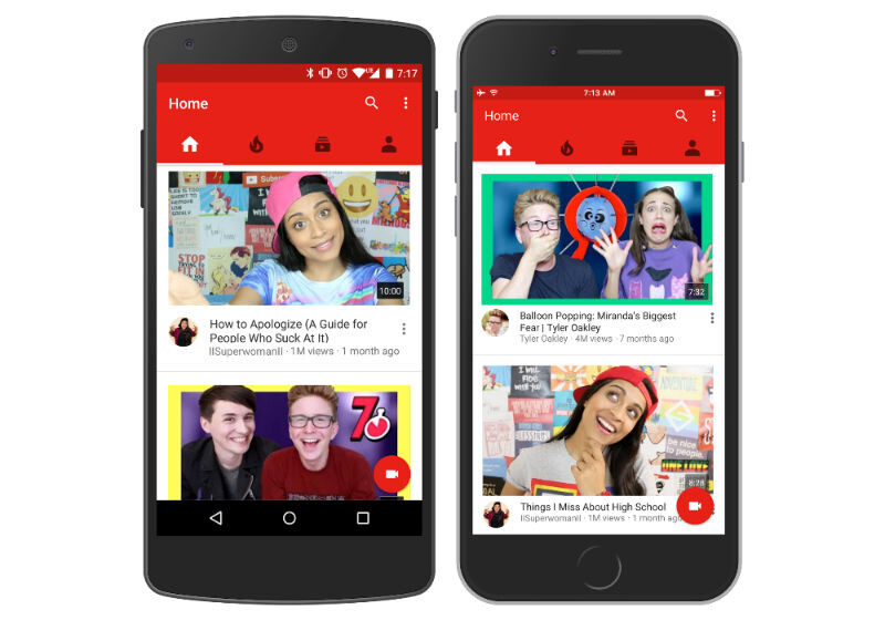 YouTube app redesigns homepage and uses machine learning to recommend videos