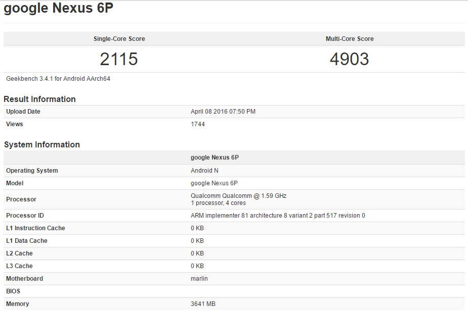 New version of the Nexus 6P hits Geekbench with Snapdragon 820, 4GB RAM and Android N