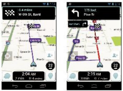 """At left, before the phony traffic jam; at right a 15 minute longer route is posted after the fake traffic jam is reported - Waze closes exploit that allowed """"ghost drivers"""" to track users and create fake traffic jams"""