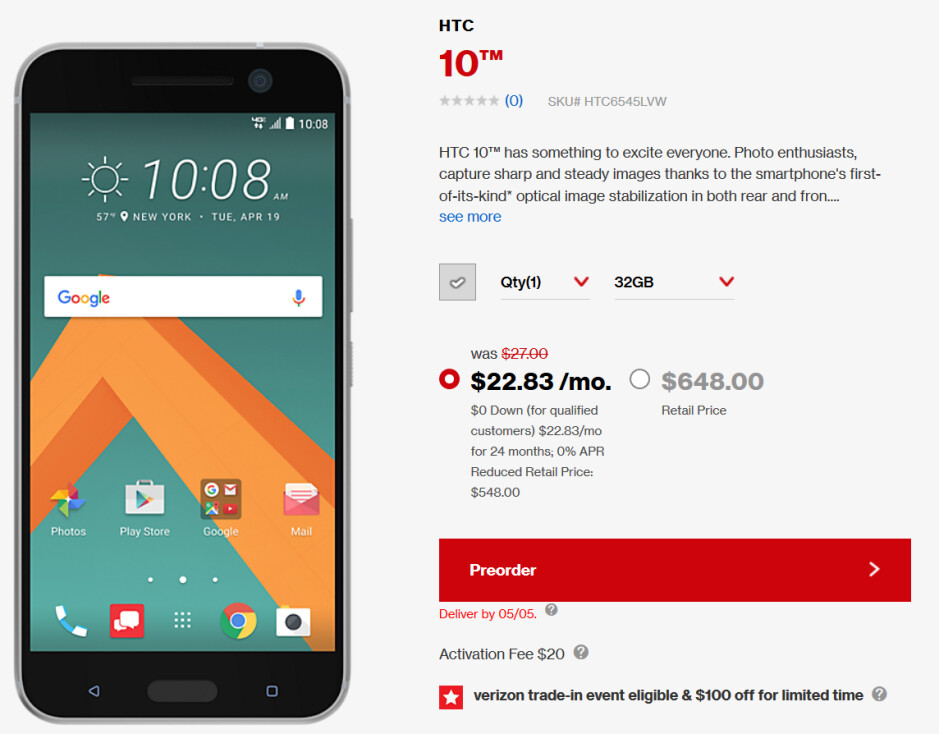 Save $100 when you pre-order the HTC 10 from Verizon - Pre-order the HTC 10 from Verizon and take $100 off the price of the phone (UPDATE)