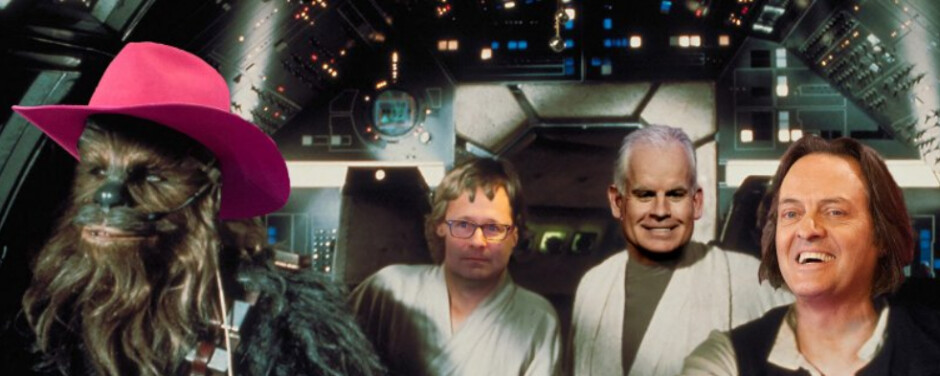 From left to right, CFO Braxton Carter's hat, COO Mike Sievert, CTO Neville Ray and CEO John Legere - T-Mobile celebrates May the Fourth with AT&T Death Star Chrome extension
