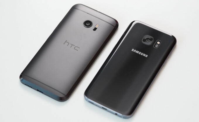 The HTC 10 (left) and Samsung Galaxy S7 (right) sitting alongside, clean and ready for beauty shots - 5 reasons why you should get the HTC 10 over the Samsung Galaxy S7