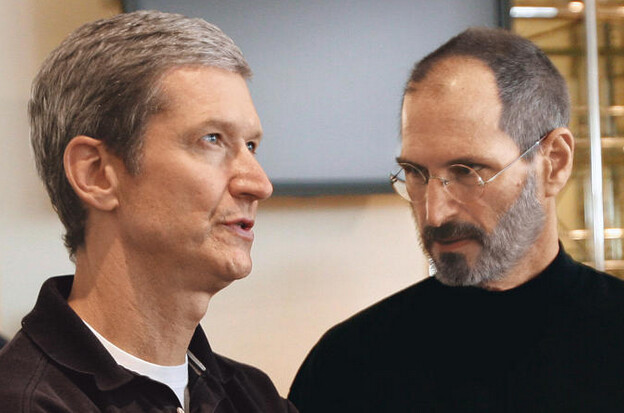 Some Hedge Fund traders say Apple needs to replace current CEO Tim Cook (L) with someone more like the late Steve Jobs - Hedge Fund boss Doug Kass and others call for Tim Cook's ouster