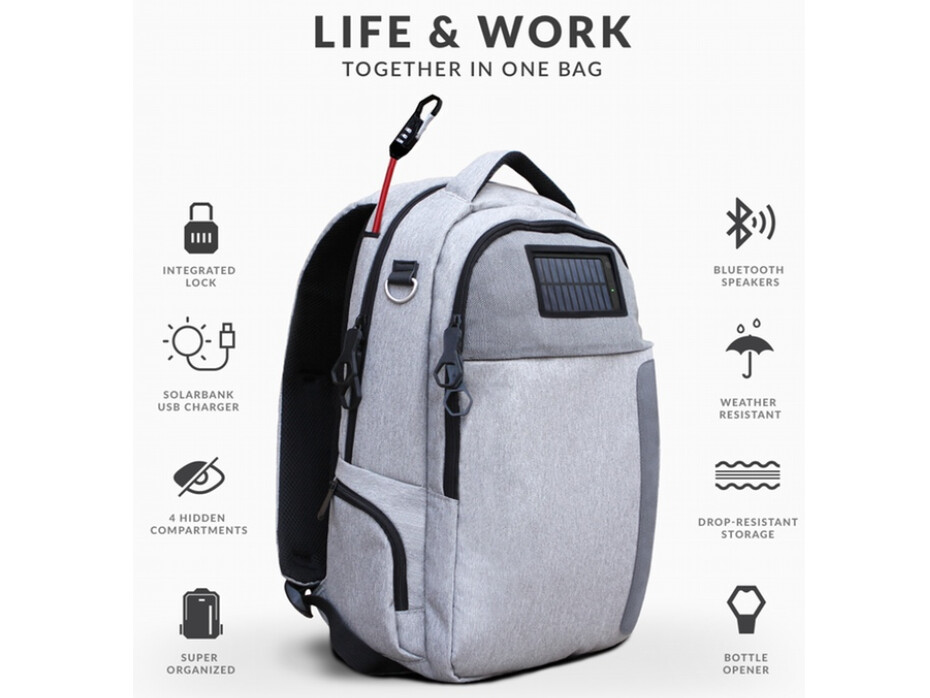 crowd funded backpack includes battery charger hidden pockets and a bottle opener. Black Bedroom Furniture Sets. Home Design Ideas