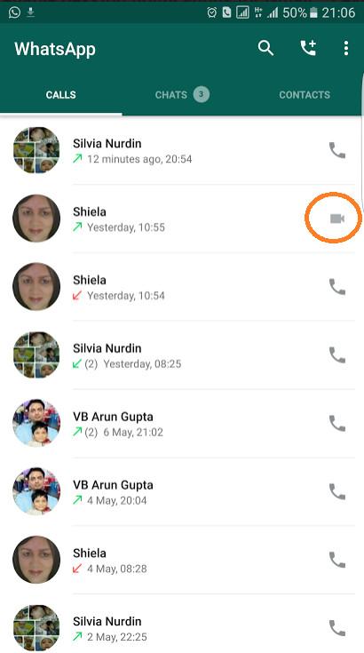 WhatsApp video calling UI