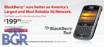 Verizon to launch the BlackBerry Tour on July 12th with a $199 contract price?