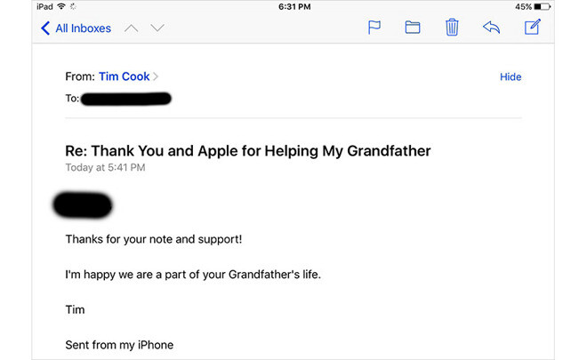 Heartwarming: Tim Cook replies to a guy with a cancer-stricken relative who turned Apple fan