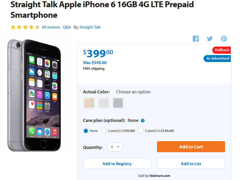 Walmart has a special deal on the Apple iPhone 6 and Apple iPhone 6