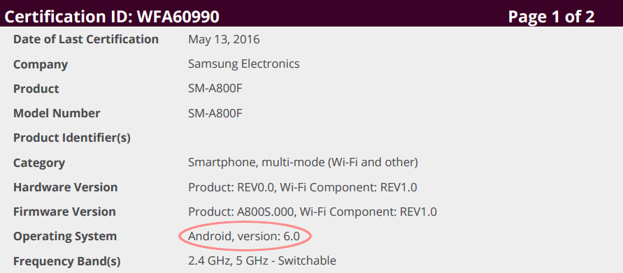 Galaxy A8 spotted running Android 6 Marshmallow