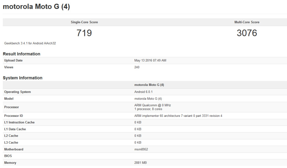 Geekbench test for the Motorola Moto G4 reveals that the phone will carry 3GB of RAM - Geekbench test reveals 3GB of RAM for the Motorola Moto G4