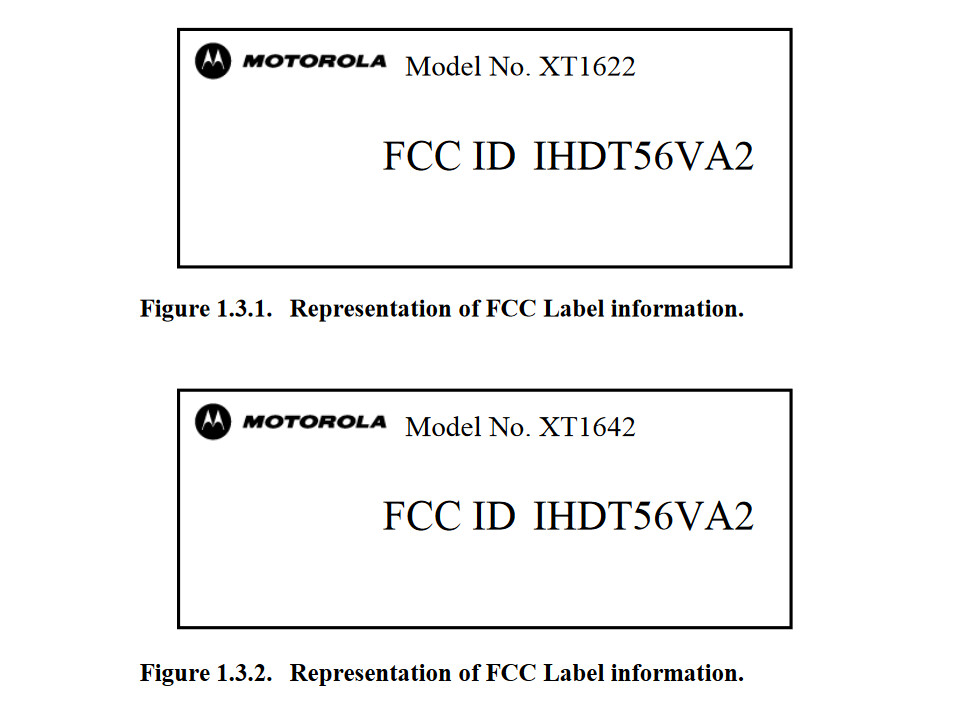 Labels from the FCC certification reveal two different models, possibly the Moto G4 and Moto G4 Plus