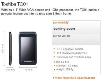 Orange grabs Toshiba TG01 in UK