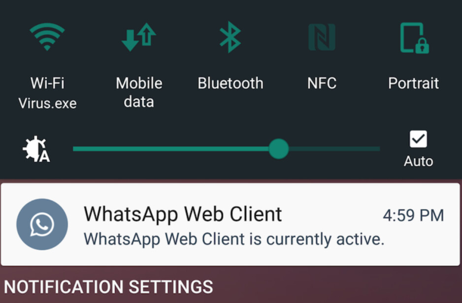 WhatsApp notification alerts you to the fact that you have the WhatsApp Web client open on your computer - New WhatsApp notification alerts you when the web client is open
