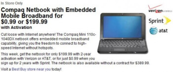 Best Buy offers a Compaq netbook for 99 cents with Sprint activation