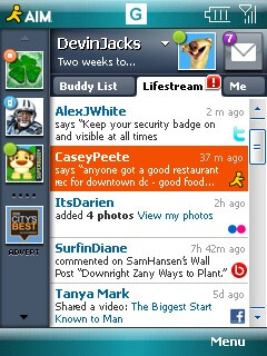 AIM 2.0 beta for Windows Mobile introduces Lifestream tab