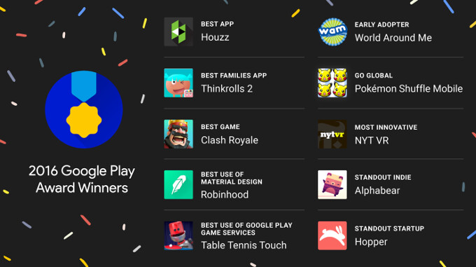 Google names best Android apps of 2016 in first Play Store Awards