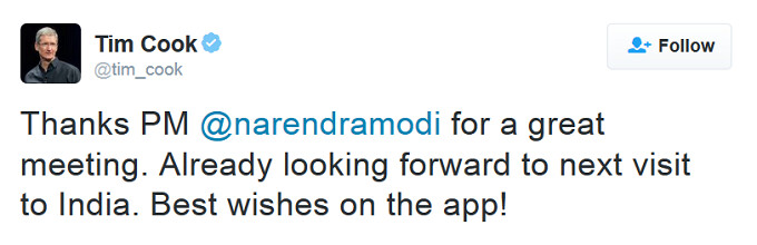 Apple CEO Tim Cook tweets India's Prime Minister Narendra Modi at the conclusion of their meeting - Tim Cook meets with India's Prime Minister to discuss Apple's future in the country