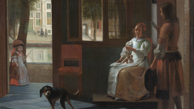 Man hands a letter to a woman in a hall, by Pieter de Hooch - That Rembrandt guy? Apple CEO Tim Cook sees iPhone in a painting from 1670, of course gets painter's name wrong