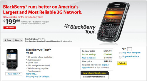 Verizon and Sprint launch the BlackBerry Tour 9630