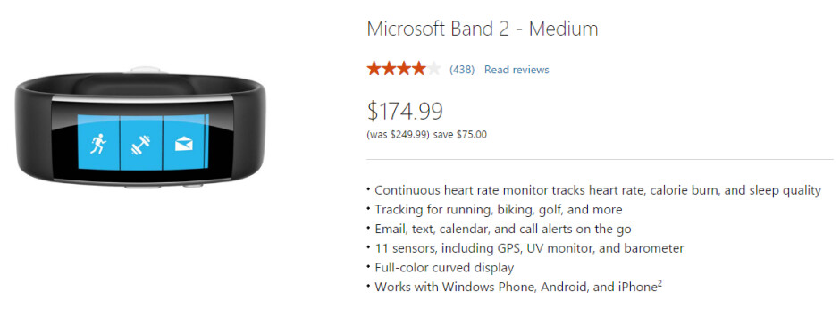 The Microsoft Band 2 is available on sale for $174.99 at the Microsoft Store up to July 9th - Microsoft Band 2 to remain on sale for $174.99 until July 9th