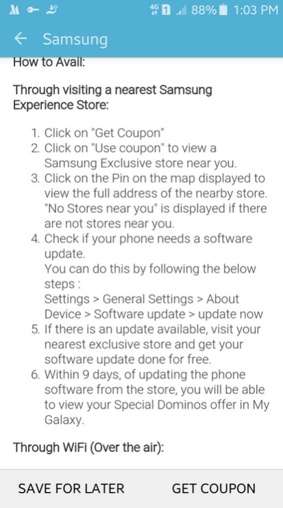 Those with a Samsung branded Android phone can receive a coupon for 20% off Dominos Pizza if they install the latest software update on their phone - Samsung bribing Android users with Dominos Pizza coupons