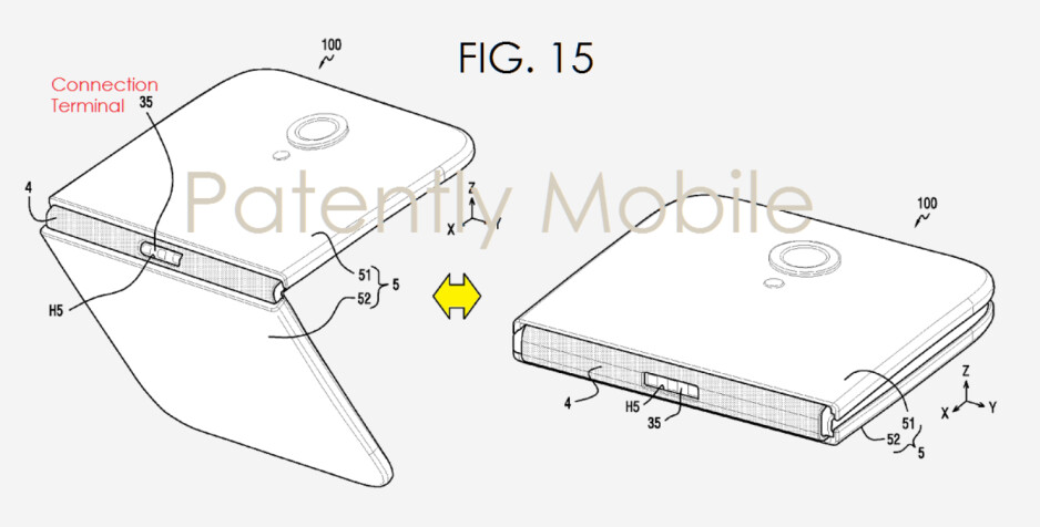 Samsung files a patent application for a phone that folds in half - Samsung files patent for foldable phone; 2017 Apple iPhone could employ flexible nanowire display