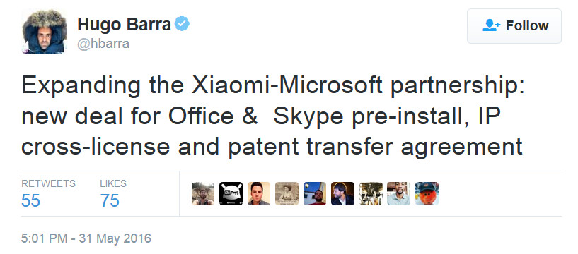 Xiaomi's Hugo Barra announces the deal on Twitter - Microsoft and Xiaomi ink patent and apps deal that includes Office and Skype