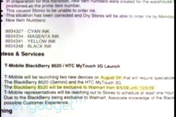 Walmart exclusively selling T-Mobile BlackBerry Curve 8520 on August 5?