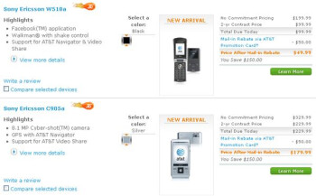 AT&T launches Sony Ericsson's C905a and W518a