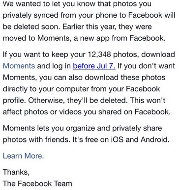 Facebook: synced photos will be deleted on July 7th