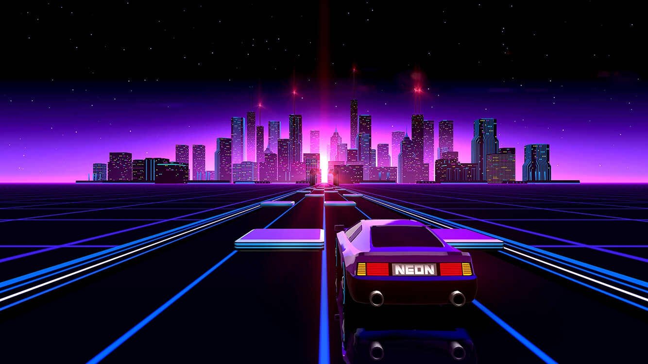 Driving off into the neon-lit city scape...