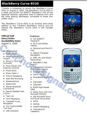 More evidence leaks showing August 5th launch for T-Mobile's BlackBerry Curve 8520