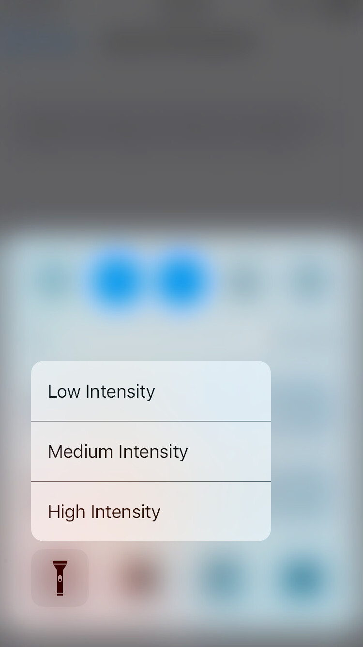 Flashlight intensity can be controlled with 3D Touch