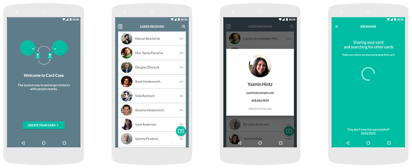 Free card case app lets android users quickly share their business free card case app lets android users quickly share their business cards with nearby smartphones reheart Images