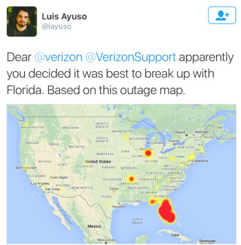 Verizon service went down in Florida this afternoon