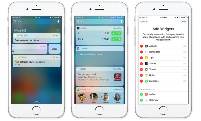 The iOS 10 notifications tray shows notifications only. Widgets are at a swipe's distance from your home screen - iOS 10 Preview: fun meets functionality in the biggest iOS update ever