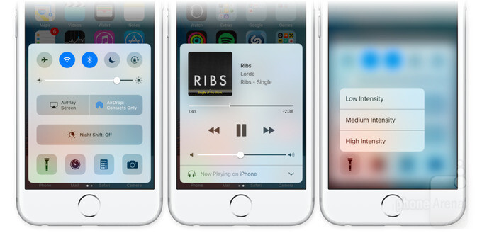 The iOS 10 Control Center adds a dedicated panel for music. 3D Touch is also there - iOS 10 Preview: fun meets functionality in the biggest iOS update ever