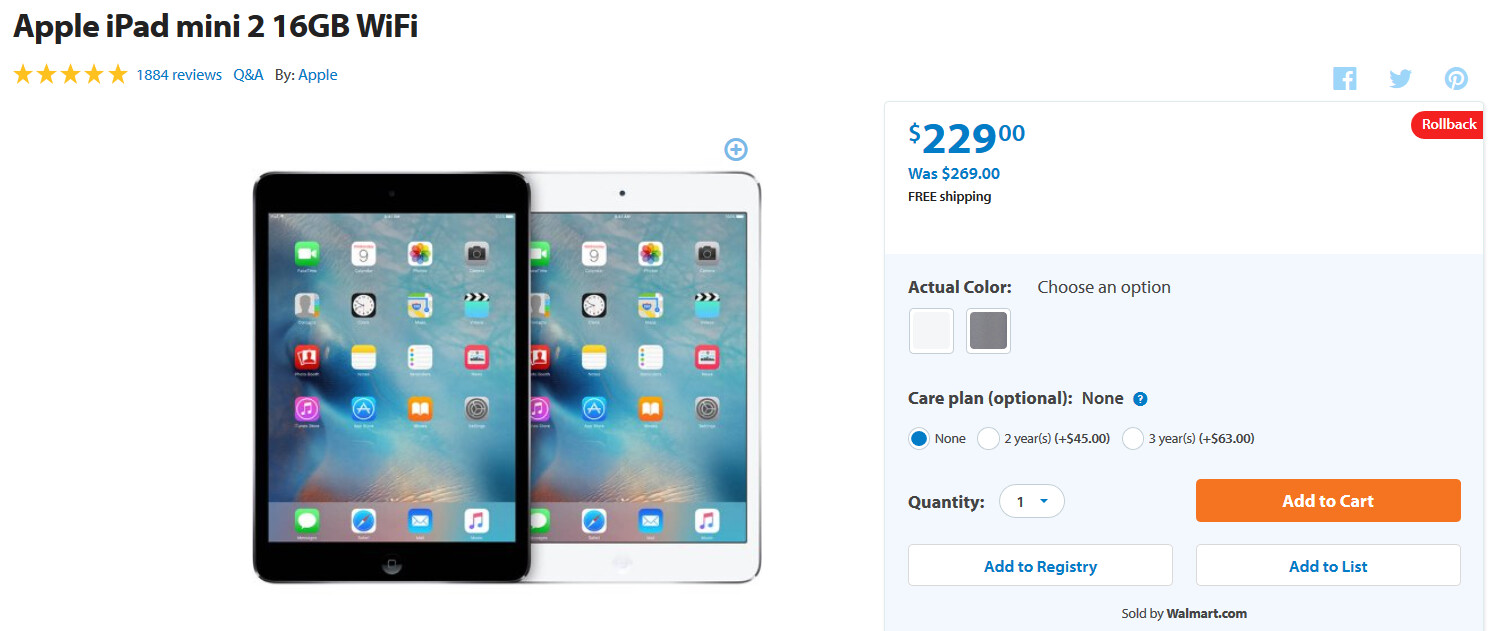 Walmart rolls back prices on Apple iPhone 5s and Apple iPad mini 2