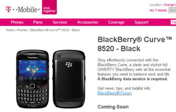 T-Mobile's web site shows off BlackBerry Curve 8520 just days from launch