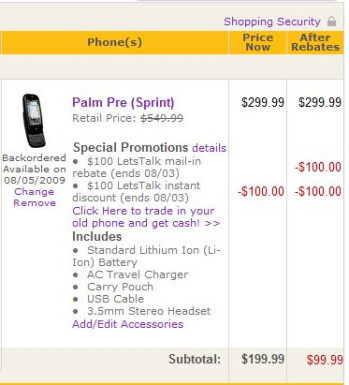 $99 Palm Pre price for real this time