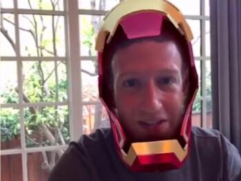 Mark Zuckerberg having fun with MSQRD's Iron Man live mask