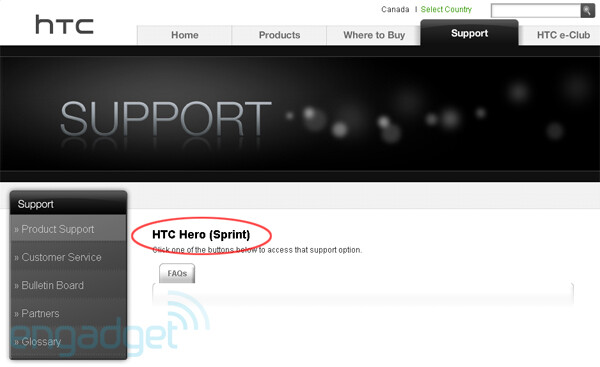 Hero to Sprint, Snap for Alltel according to HTC support site